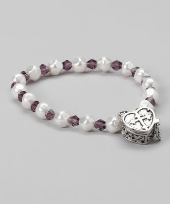 Amethyst Heart Prayer Box Bracelet