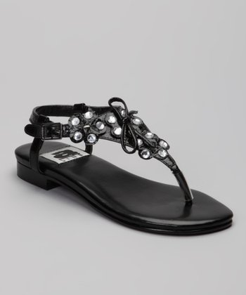 A Line Black Rhinestone Sandal