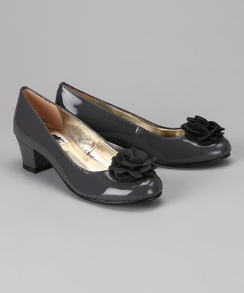 A Line Gray Patent Flower Dress Shoe