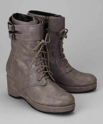 A Line Gray Lace-Up Boot