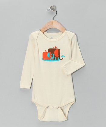 Natural The Elefunts Organic Long Sleeve Bodysuit - Infant