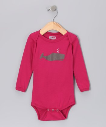 Rubine Whale Heart Organic Long-Sleeve Bodysuit - Infant