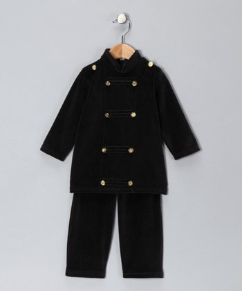 Black Velour Military Top & Pants - Infant, Toddler & Boys