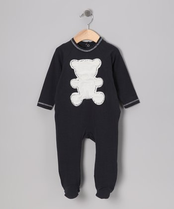 Navy Rhinestone Bear Footie - Infant