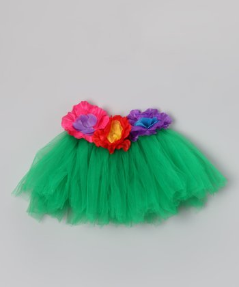 Green Floral Luau Tutu - Infant, Toddler & Girls