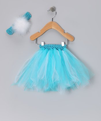 Turquoise Tutu & Feather Headband - Infant, Toddler & Girls