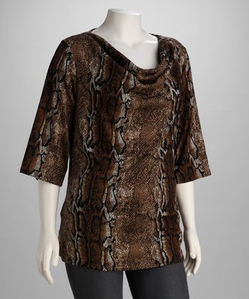 Tan Snake Hacci Plus-Size Drape Top