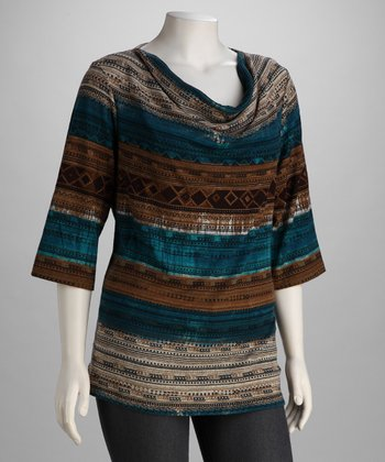 Teal Stripe Hacci Plus-Size Drape Top