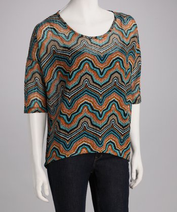 Teal Sheer Abstract Top