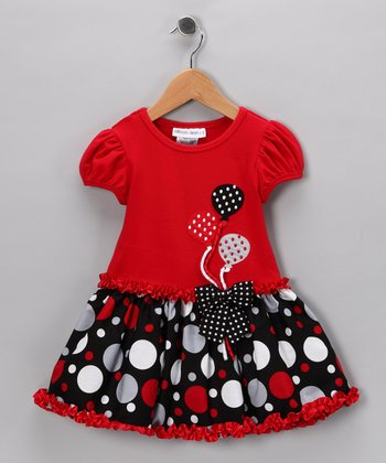Red & Black Balloon Dress - Girls