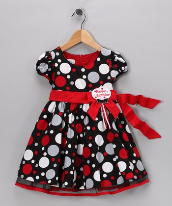 Red & Black Polka Dot 'Happy Birthday' Dress - Girls