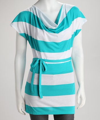 Teal Surf Stripe Tie-Back Top