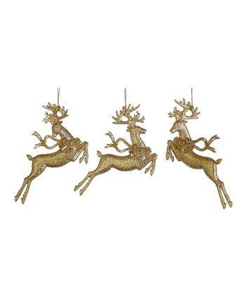 Gold Reindeer Ornament Set
