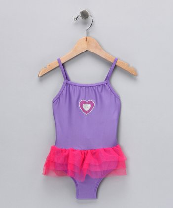 Purple Heart Skirted One-Piece - Toddler
