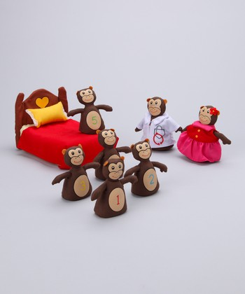 Five Little Monkeys Jumping on the Bed Plush Set
