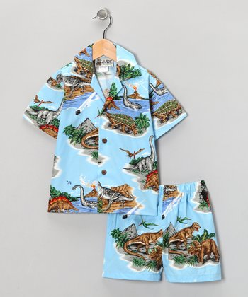 Blue Dinosaur Button-Up & Shorts - Infant
