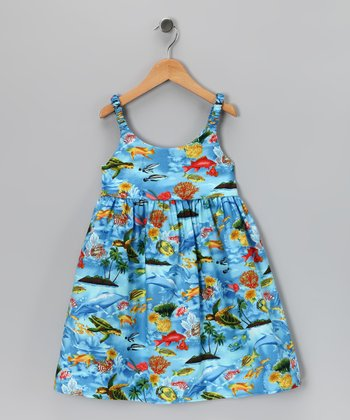 Blue Hawaiian Sea Life Dress - Infant & Toddler