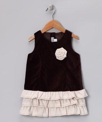 Dark Brown Rose Ruffle Amaris Dress - Toddler & Girls