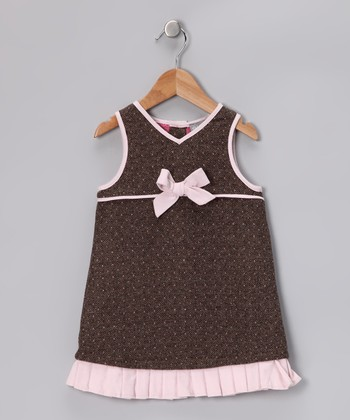 Gray & Pink Bow Alizee Wool-Blend Dress - Toddler & Girls