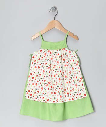 Lime Pinafore Polka Dot Dress - Toddler & Girls