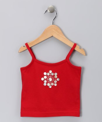 Red Seashell Button Doriane Tank - Toddler & Girls