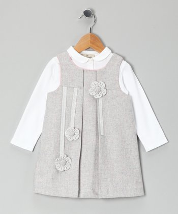 White Blouse & Gray Flower Appliqué Jumper - Girls