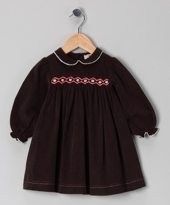 Brown Smocked Corduroy Dress - Infant