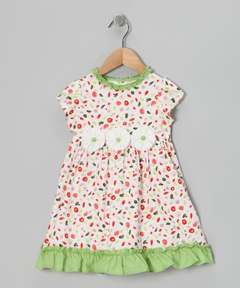 White & Green Flower Appliqué Dress - Infant & Toddler