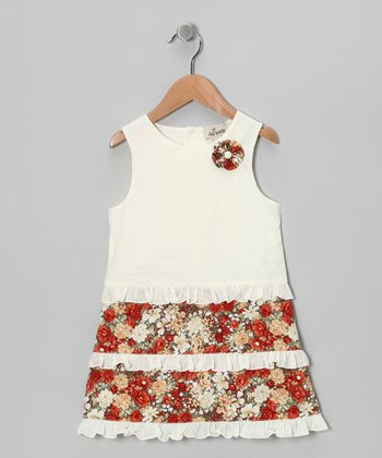 Red & Ivory Daisy Dress - Infant, Toddler & Girls