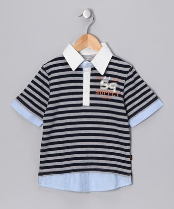 Navy Skipper Layered Polo - Toddler & Boys