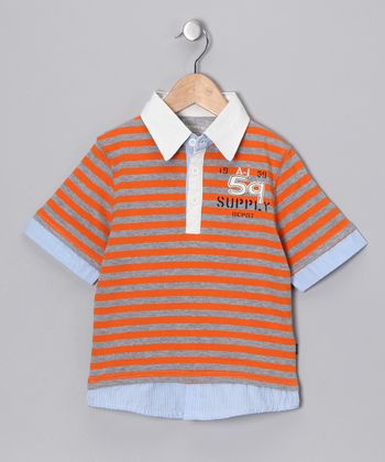 Tangerine Skipper Layered Polo - Toddler & Boys