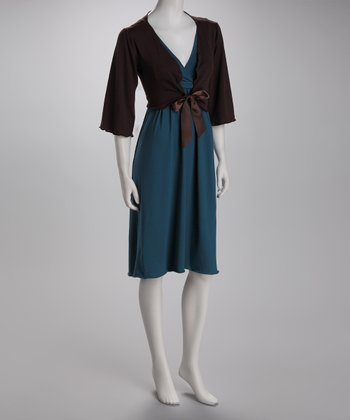 Amamante Teal Nursing Gown & Chocolate Shrug