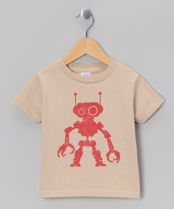 Khaki Robot Tee - Toddler & Girls