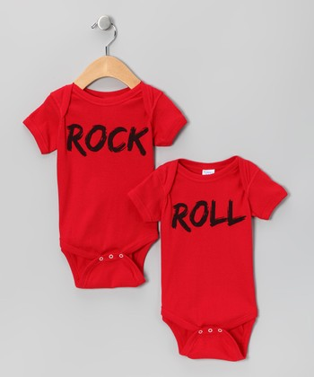 Red 'Rock' & 'Roll' Bodysuit Set - Infant