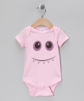 Light Pink Toothy Smile Monster Bodysuit - Infant