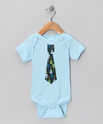 Light Blue Guitar Tie Bodysuit - Infant