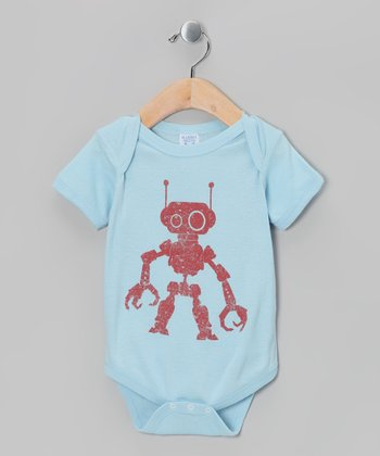 Light Blue Robot Bodysuit - Infant
