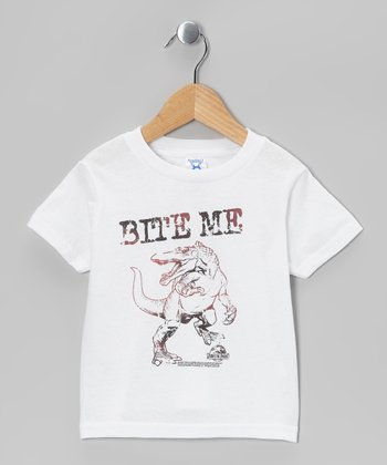 White T-Rex 'Bite Me' Tee - Toddler & Kids