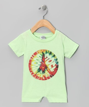Key Lime 'Woodstock' Tie-Dye Peace Sign Romper - Infant
