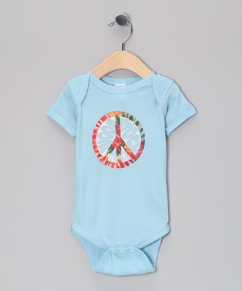Blue Woodstock Peace Sign Bodysuit - Infant