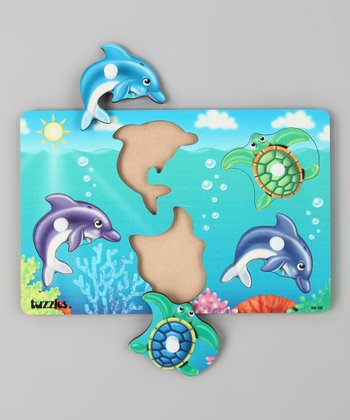American Educational Products Dolphins & Turtles Knob Puzzle