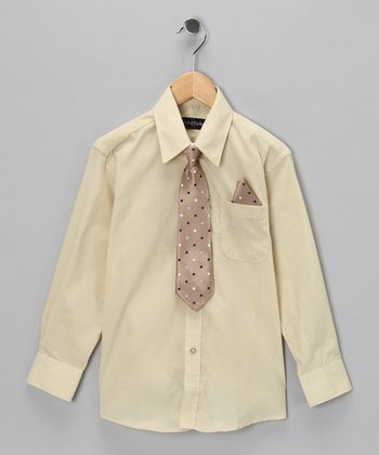 American Exchange Beige Shirt Set - Infant, Toddler & Boys