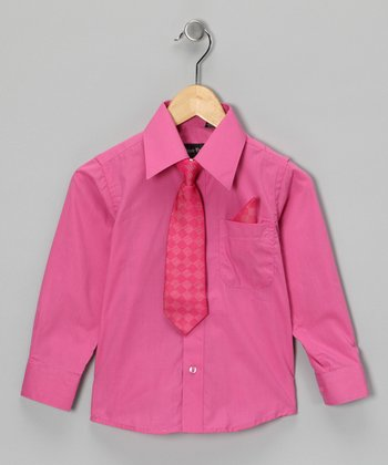 American Exchange Fuchsia Shirt Set - Infant, Toddler & Boys