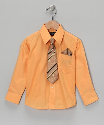 American Exchange Orange Shirt Set - Infant, Toddler & Boys