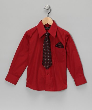 American Exchange Wine Red Shirt Set - Infant, Toddler & Boys