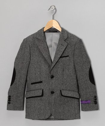 Gray & Black Wool-Blend Elbow Patch Blazer - Boys