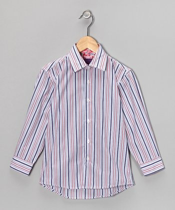 White & Red Stripe Button-Up - Boys
