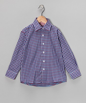 Light Blue & Purple Plaid Button-Up - Boys