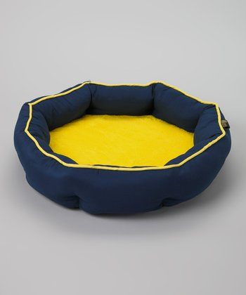 Navy & Yellow Round Orthopedic Cuddler Pet Bed