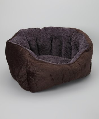 Brown Embossed Deluxe Cuddler Pet Bed